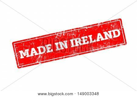 MADE IN IRELAND, red rubber stamp with grunge edges.
