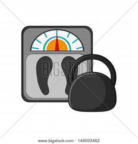 flat design weight scale and kettlebell  icon vector illustration