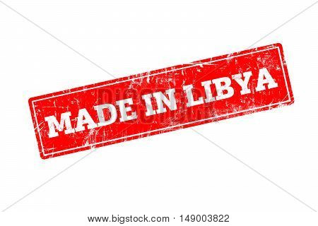 MADE IN LIBYA, red rubber stamp with grunge edges.