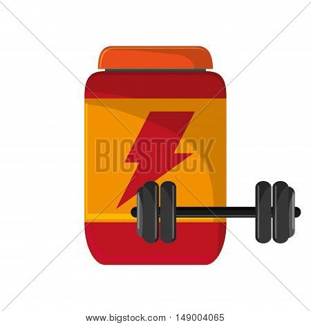 flat design protein powder supplement and dumbbell  icon vector illustration