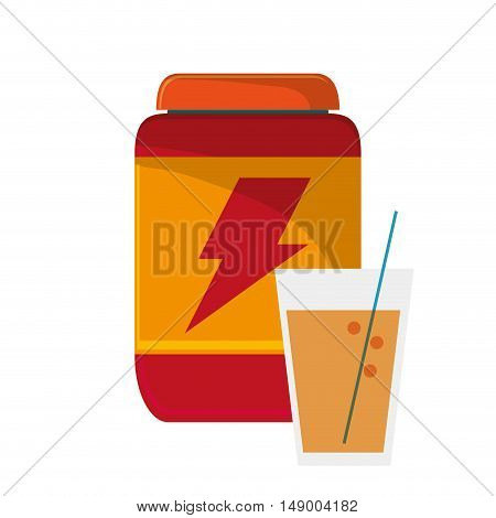 flat design protein powder supplement and  glass beverage icon vector illustration
