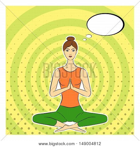 Yogi girl in pop-art style. Asana lotus posture. Dotted concentric circles pop art stile background. Comic speech bubble. Cartoon woman cut from paper. Vector illustration.