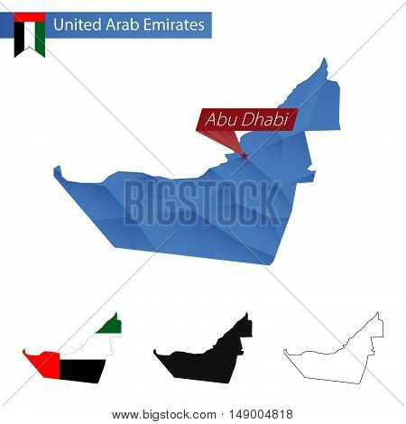 United Arab Emirates Blue Low Poly Map With Capital Abu Dhabi.