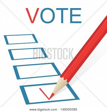 Voting concept picture. Pencil draws a check mark. Vector illustration