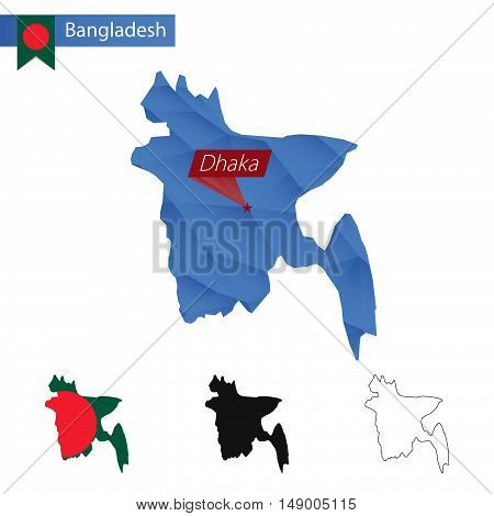 Bangladesh Blue Low Poly Map With Capital Dhaka.