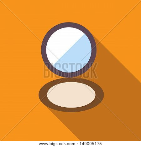Puff box powder makeup icon in flat style isolated with long shadow vector illustration