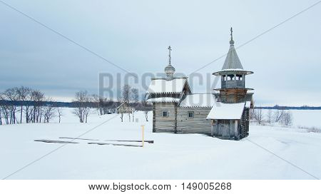 Orthodox Wooden Church In The Village In The North Of Karelia