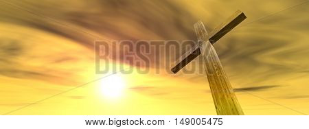 3D illustration conceptual wood cross or religion symbol shape over a sunset sky with clouds background banner