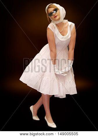 young beautiful girl posing,retro styling, studio shot