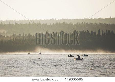 Morning fishing on the lake Zyuratkul Ural