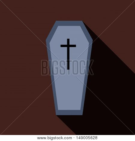 Coffin icon in flat style isolated with long shadow vector illustration