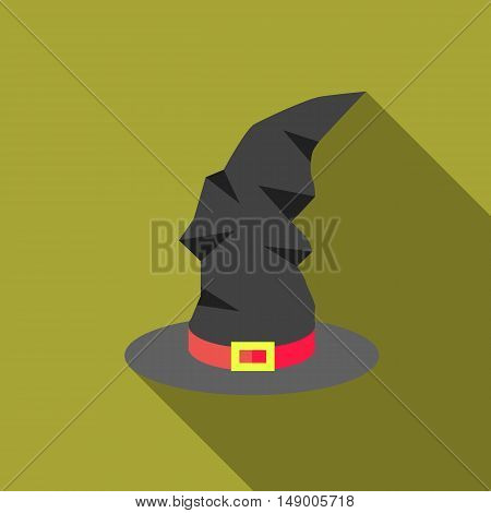 Witch hat icon in flat style isolated with long shadow vector illustration