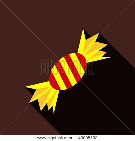 Halloween candy icon in flat style isolated with long shadow vector illustration