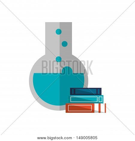 flat design round bottom chemistry flask and books  icon vector illustration