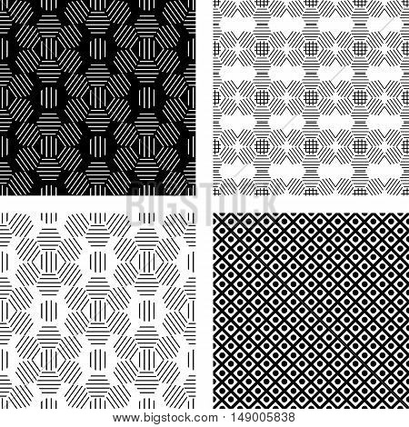 Seamless set monochrome geometric pattern of black lines in a hexagon -vector illustration. Ornament flower. Dots textured.