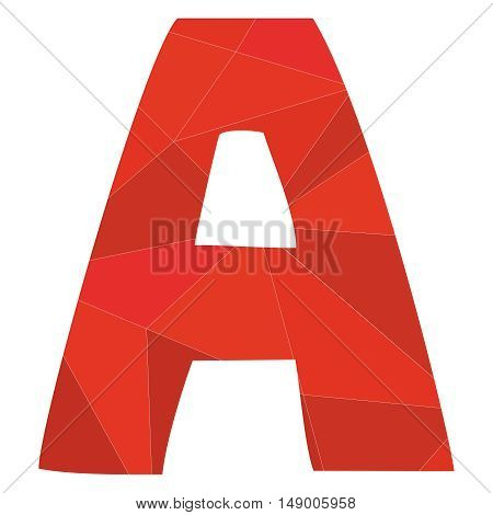 A red alphabet wrapping surface vector letter isolated on white background