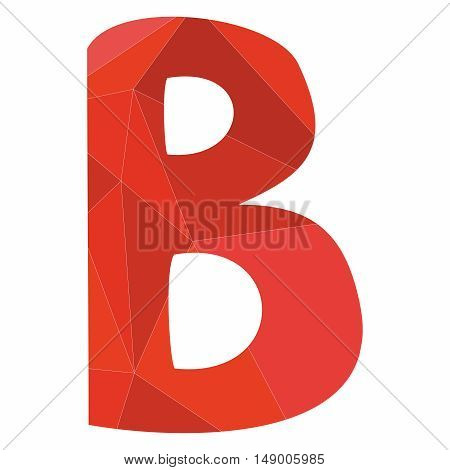 B red alphabet wrapping surface vector letter isolated on white background