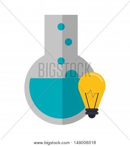 flat design round bottom chemistry flask and lightbulb icon vector illustration