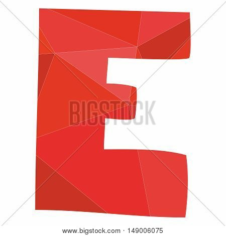 E red alphabet wrapping surface vector letter isolated on white background