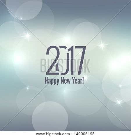 Abstract blurred vector background with sparkle stars. Happy New Year 2017 theme. For decorations festivals, xmas, glamour holiday, illuminated, celebration