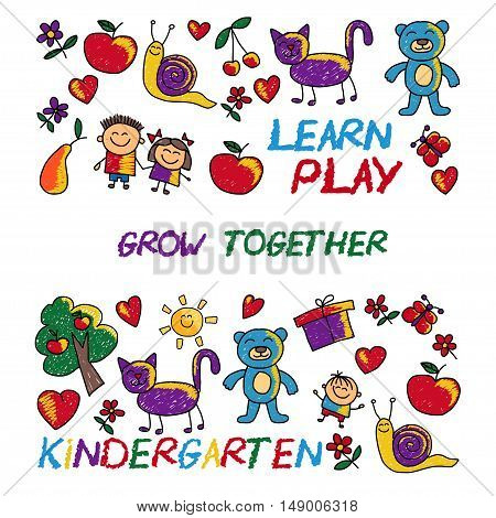 Play Learn and grow together Hand drawn vector image