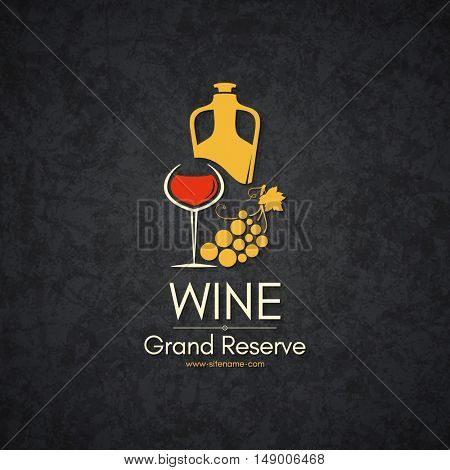 Wine list design. Vector brochure template for wine shop, winery, wine list, cafe, restaurant, bar. Food and drinks logotype symbols. Wine bottles, wine glasses and grape