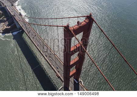 Aerial view of the Golden Gate bridge near San Francisco, California.