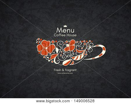 Restaurant or coffee house menu design. Vector brochure template for cafe, coffee house, tea, restaurant, bar. Food and drinks logotype. Coffee symbols. Coffee cup design with flowers