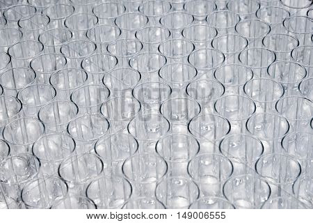 Empty glasses in a bar