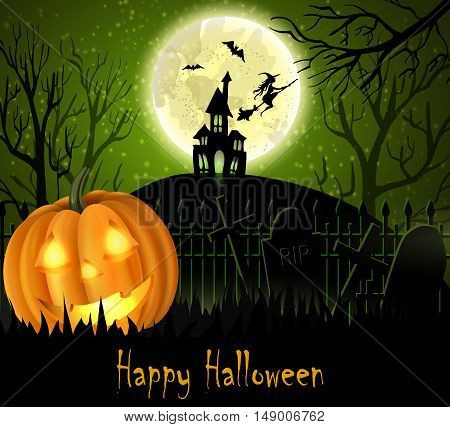 Halloween spooky background with moon fence haunted house witch bats and pumpkin. Vector. Green