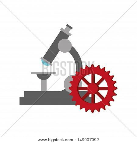 flat design microscope and gears  icon vector illustration