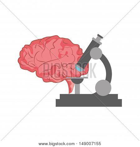 flat design brain and microscope  icon vector illustration