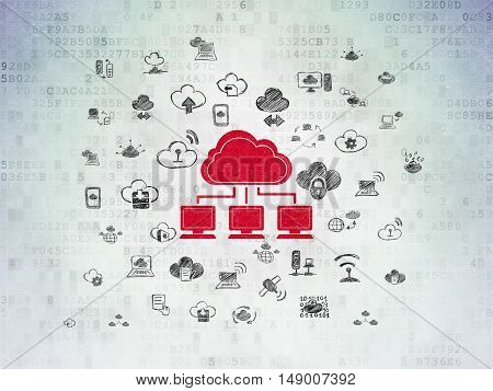 Cloud networking concept: Painted red Cloud Network icon on Digital Data Paper background with  Hand Drawn Cloud Technology Icons