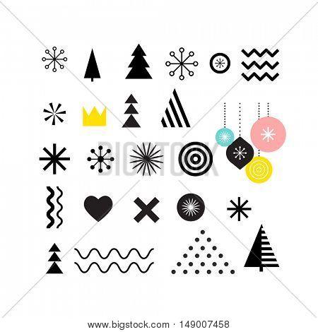 Christmas geometric abstract shapes, art elements, Scandinavian style pattern