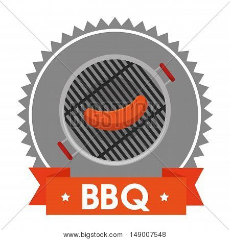 barbecue steakhouse with sausage grilled. colorful design. vector illustration