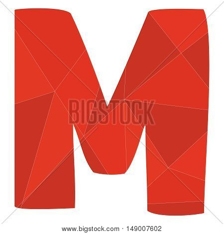 M red alphabet wrapping surface vector letter isolated on white background