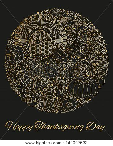 Thanksgiving day greeting card. Various elements for design. Cartoon vector illustration. Round shape.