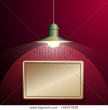Ancient bronze lamp hanging on the wire. Big and empty bronze plate illuminated on the vinous wall. Vector illustration of lighting.