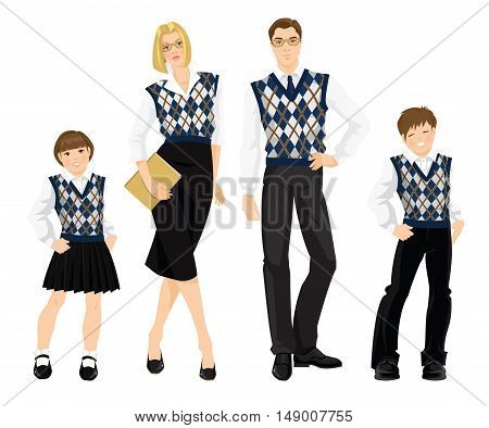 Vector illustration of business people or teacher in formal vest with rhombus pattern in english style