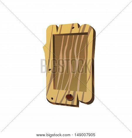 Old, wooden mobile phone, vector illustration for web design and printing