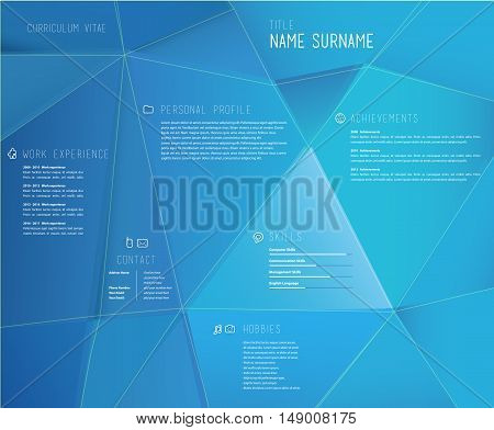 Creative cv template with 3d effect on blue background.