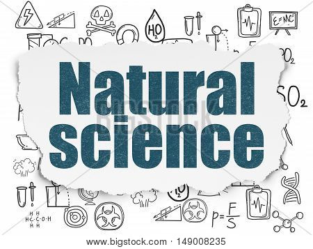 Science concept: Painted blue text Natural Science on Torn Paper background with  Hand Drawn Science Icons