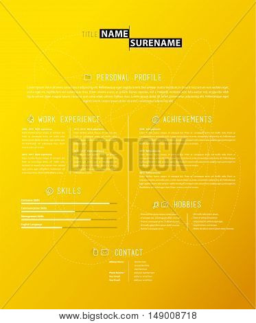 Creative simple cv template on yellow background.
