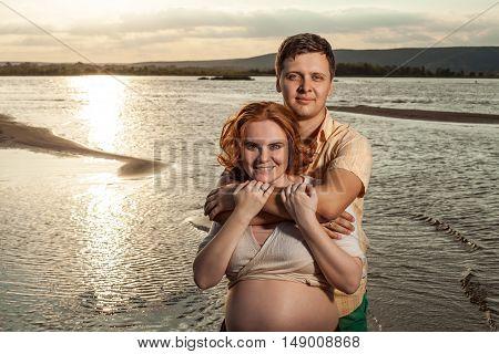 Happy Embracing Couple.
