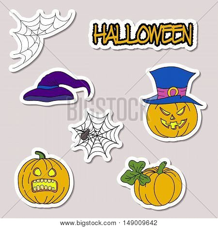 Doodle Cartoon Patch Badges Or Stickers Halloween Theme. Pumpkin, Hat, Spider Web, Spider In Hand Dr