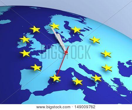 European Union Clock 3D Euro concepts shape eurogroup