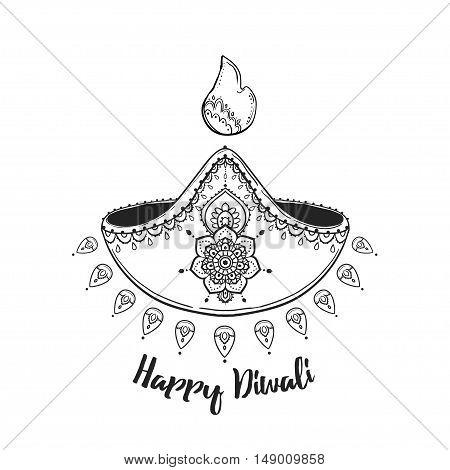 Happy Diwali. Hindu festival celebration in India. Vector illustration background