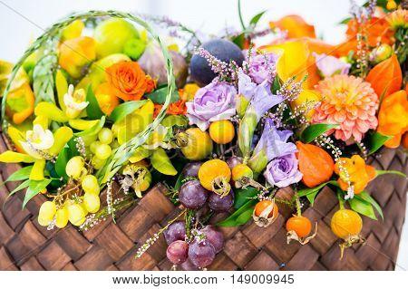 Seasonal Flower And Fruit Bouquet