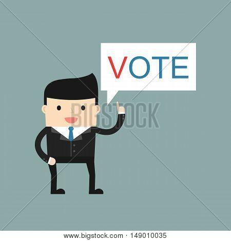 A man calls to vote. Vector illustration