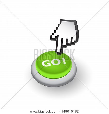Green 'GO!' push button sign emblem vector illustration. Hand with touching a button or pointing finger.